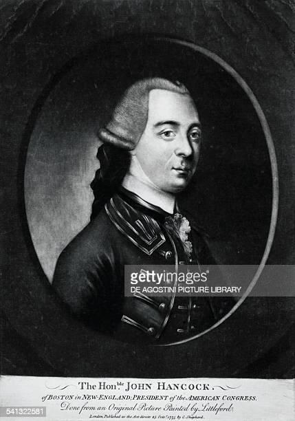 Portrait of John Hancock president of the US Congress engraving United States of America 18th century