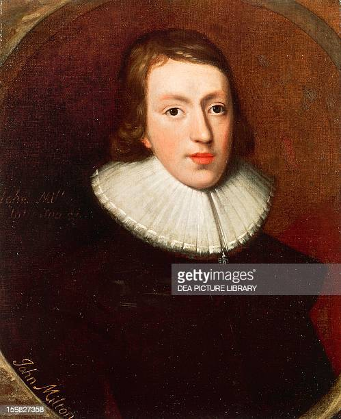 Portrait of John Milton English poet Oil on canvas by an unknown artist ca 1629 597 x483 cm London National Portrait Gallery