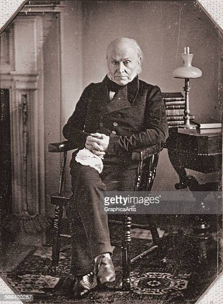 Portrait of John Quincy Adams from a daguerreotype; silver print, circa 1840s.