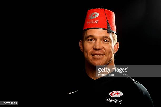 A portrait of John Smit of South Africa wearing a fez after he announced his arrival at Saracens at a press conference at Old Albanians RFC on...