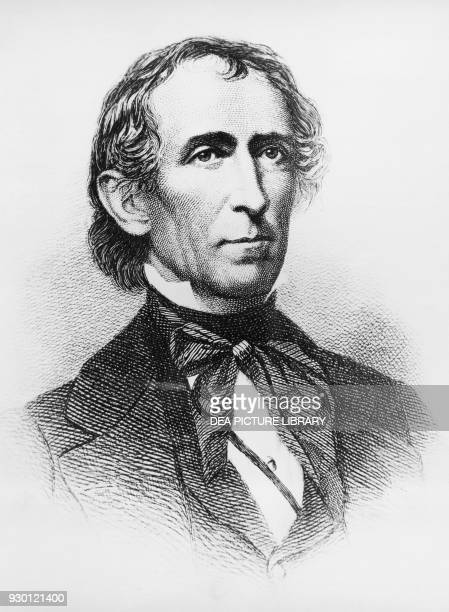 Portrait of John Tyler American lawyer and politician who served as the 10th President of the United States from 1841 to 1845 engraving after a...