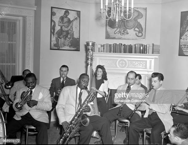 Portrait of Johnny Hodges Rex William Stewart Adele Girard Harry Carney Barney Bigard and Joe Marsala Turkish Embassy Washington DC 1935