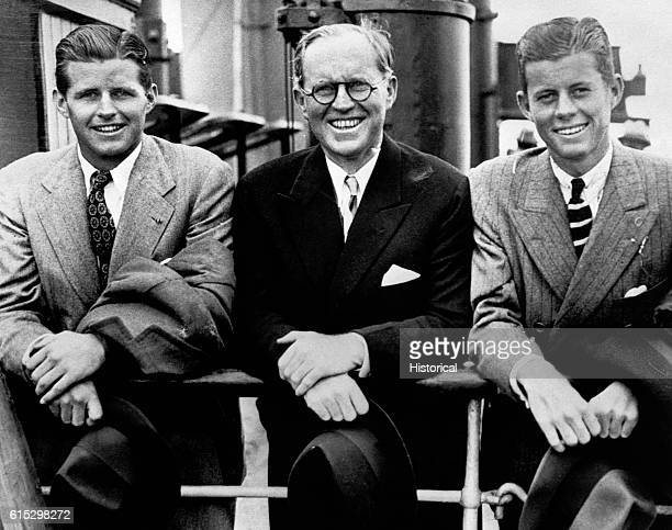 A portrait of Joseph P Kennedy and his two eldest sons Joseph Jr who died in action during World War II and future President John F Kennedy Ca...