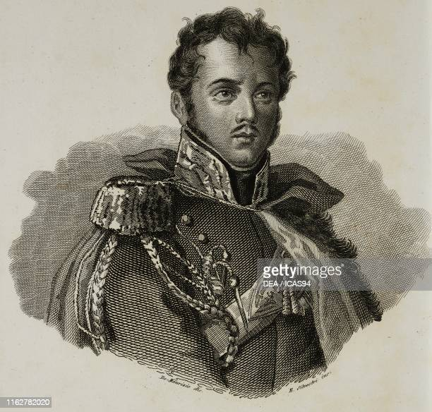 Portrait of Jozef Poniatowski Polish general engraving by E Silvestri after a drawing by De Maurizio from Vite dei primarj marescialli e generali che...