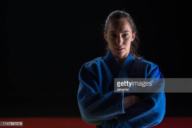 portrait of judo player - judo stock pictures, royalty-free photos & images