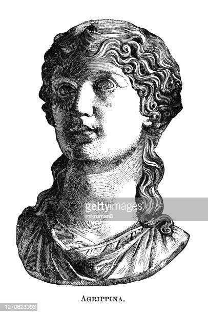 portrait of julia agrippina (agrippina the younger) the mother of nero. - illustration stock pictures, royalty-free photos & images