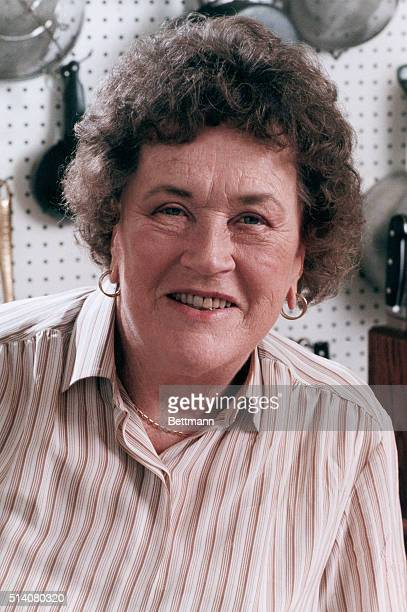 A portrait of Julia Child in the kitchen of her Santa Barbara California home Child is best known for her PBS television series on practical gourmet...
