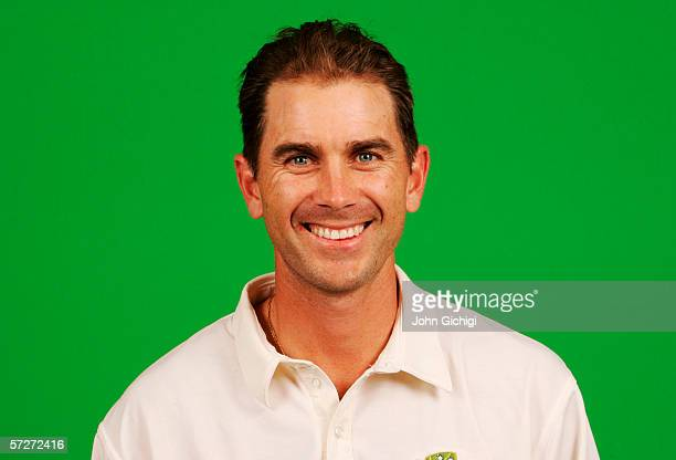 Portrait of Justin Langer of Australia taken during a photocall at the Royal Gardens Hotel on July 18, 2005 in London, England.