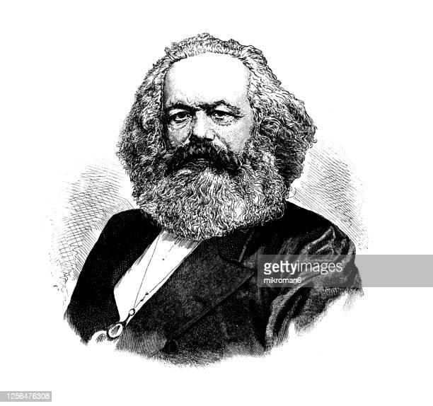portrait of karl marx, 1818-1883, german philosopher, economist, historian, sociologist, political theorist, journalist and socialist revolutionary. - karl marx stock pictures, royalty-free photos & images