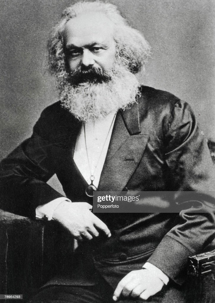 Portrait of Karl Marx 1818 - 1883. German founder of modern communism in England from 1849. He wrote The Communist Manifesto with Engels in 1848 and developed his theories of the class struggle and economics of capital in Das Kapital. : News Photo