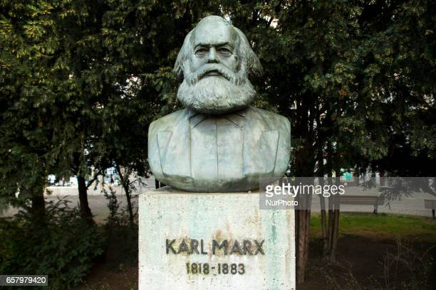 A portrait of Karl Marx on the Straussberger Platz is pictured in Berlin Germany on March 25 2017