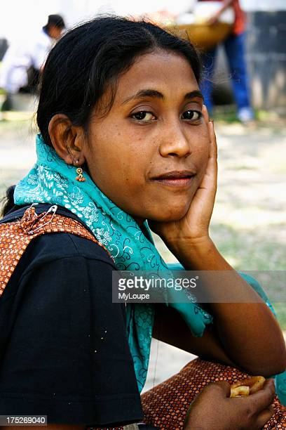 Portrait of Kashia tribal woman in the catholic mission of the Kashia village near Jaflang Sylhet Division Bangladesh