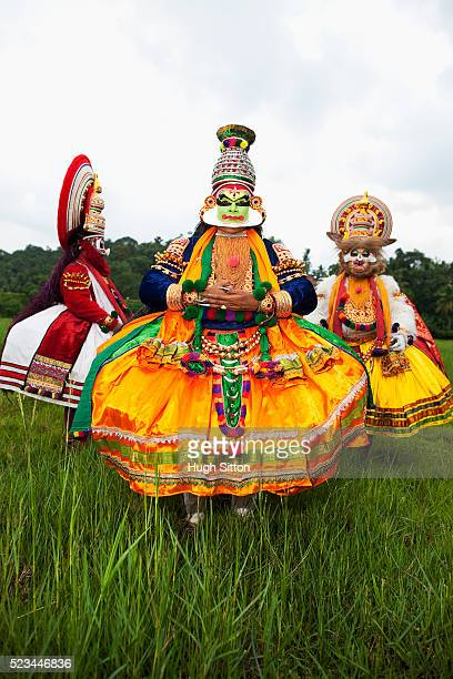 portrait of kathakali dancers, kerala, southern, india - hugh sitton india stock pictures, royalty-free photos & images