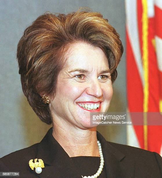 Portrait of Kathleen Kennedy Townsend, Lt. Governor of Maryland, as she listens to her introduction before she speaks to journalists at the National...