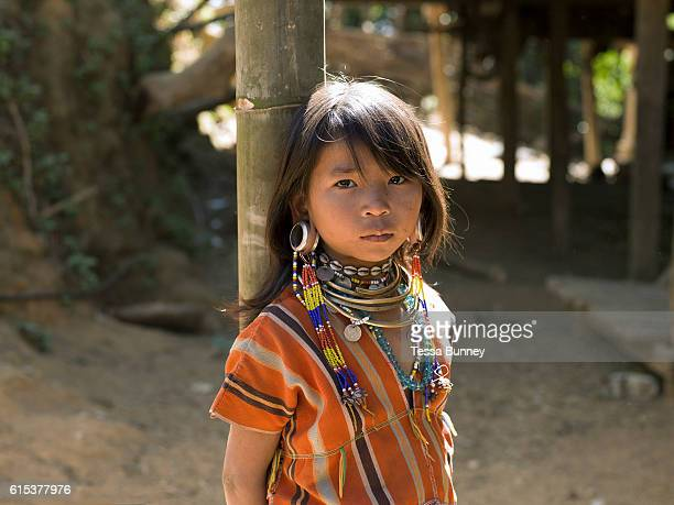 Portrait of Kayaw ethnic minority girl on 19th January 2016 in Kayah State Myanmar Wearing traditional costumes made from handwoven cotton Kayaw...
