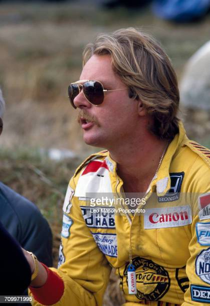 Portrait of Keke Rosberg of Finland who placed third, driving a Williams FW10 with a Honda V6 engine for the Canon Williams Team, during the European...