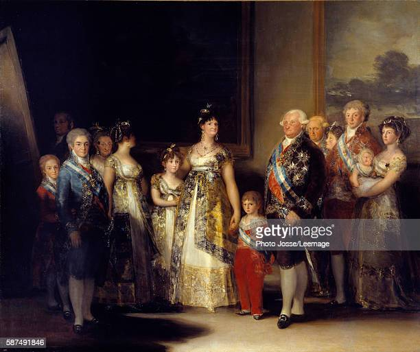 Portrait of King Charles IV of Spain and his family In the centre the Queen Maria Luisa of BourbonParma Painting by Francisco de Goya y Lucientes...