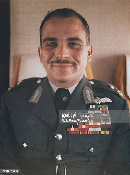 Portrait of King Hussein of Jordan wearing military uniform circa 1965
