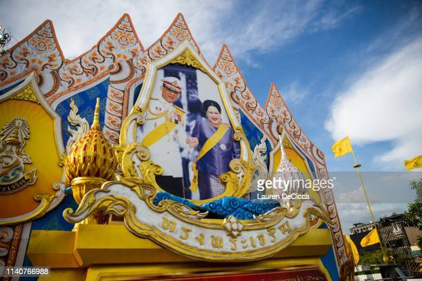 A portrait of King Maha Vajiralongkorn and his mother Queen Sirikit hang near the Thai Royal Palace ahead of The Royal Coronation on May 2 2019 in...