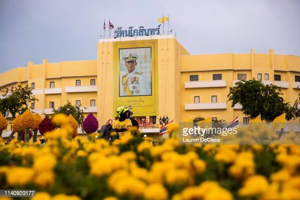 A portrait of King Maha Vajiralongkorn hangs near Thailand's Royal Palace ahead of the Royal Coronation on May 3 2019 in Bangkok Thailand This will...