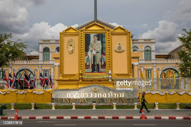 A portrait of King Maha Vajiralongkorn is displayed at the the Ministry of Defence building in Bangkok Thailand on Wednesday Sept 2 2020 Thailand has...