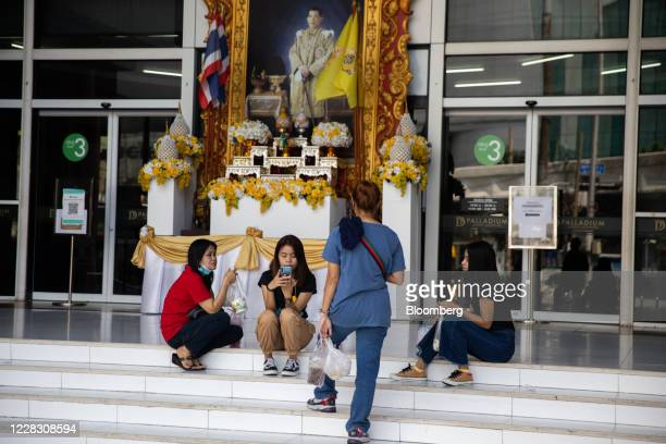 A portrait of King Maha Vajiralongkorn is displayed outside a building in Bangkok Thailand on Wednesday Sept 2 2020 Thailand has reported zero...