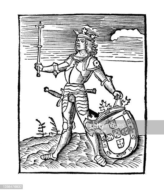 """portrait of king manuel i with the coat of arms of portugal. illustration from the book """"mundus novus"""" made by amerigo vespucci in 1504 - insignia stock pictures, royalty-free photos & images"""