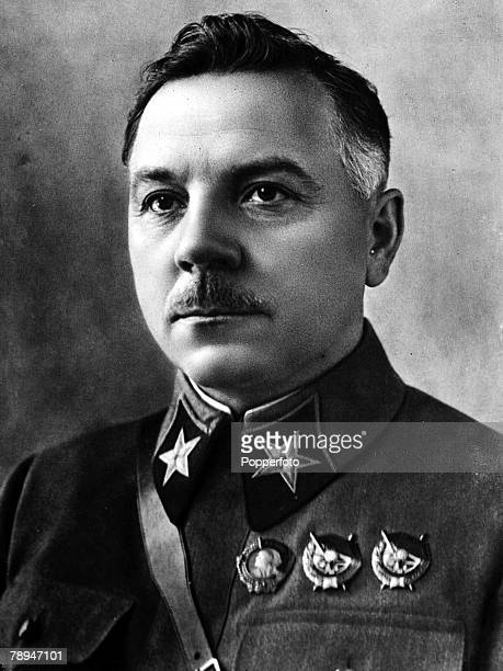 A portrait of Kliment Yefremovich Voroshilov the Russian soldier and politician Marshal of the USSR and President of the Soviet Union from 1953 to...