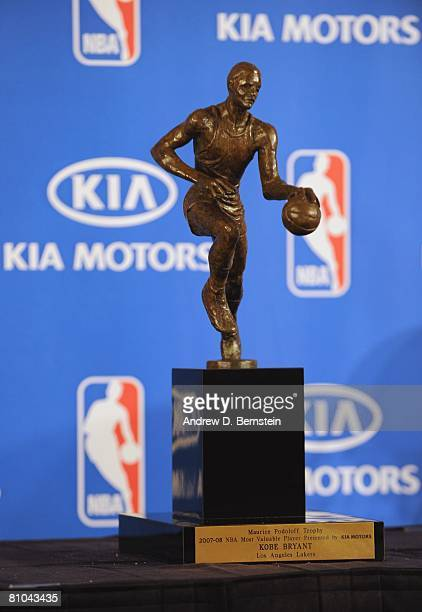 Portrait Of Kobe Bryants MVP Trophy At The 200708 NBA Most Valuable Player Award Press Conference
