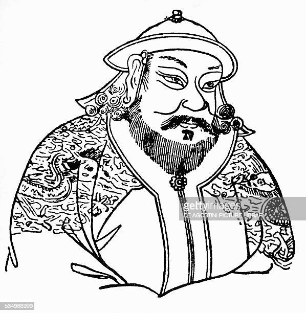 Portrait of Kublai Khan Mongol leader and ruler Khagan founder of the first Chinese empire of the Yuan Dynasty drawing Mongolia 13th century