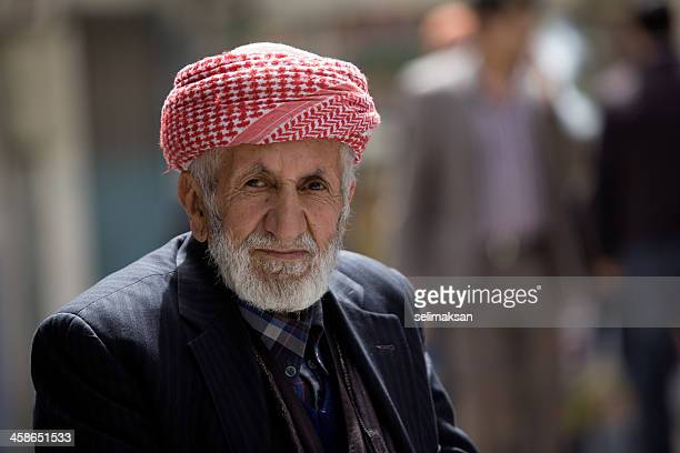 Portrait of Kurdish senior man from Bitlis with traditional turban