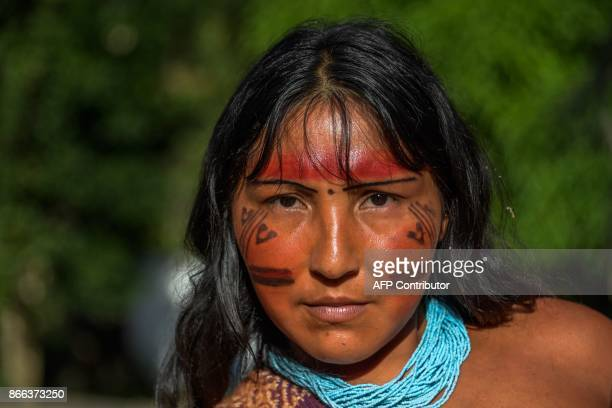 Portrait of Kurija Waiapi in the Waiapi indigenous reserve in Amapa state in Brazil on October 14 2017 The tiny Waiapi tribe is resisting moves by...