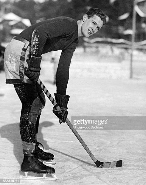 Portrait of L Noble of the Yale hockey team which defeated Williams College during the past week of winter games at Lake Placid, Lake Placid, New...