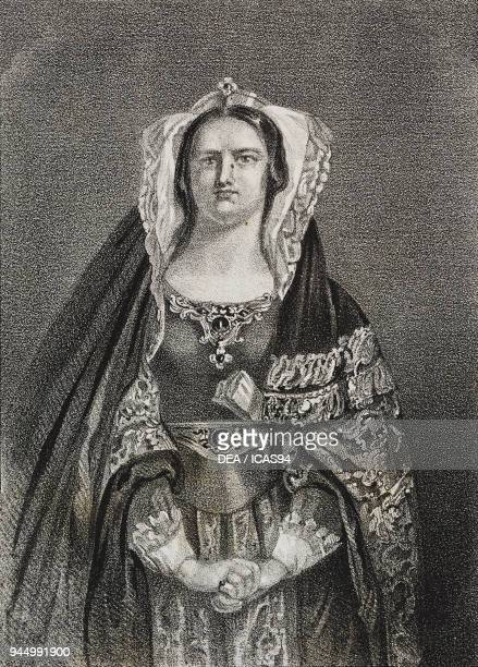 Portrait of Lady Macbeth one of Shakespeare's female characters lithograph by Gaetano Riccio from Poliorama Pittoresco n 25 January 25 1845