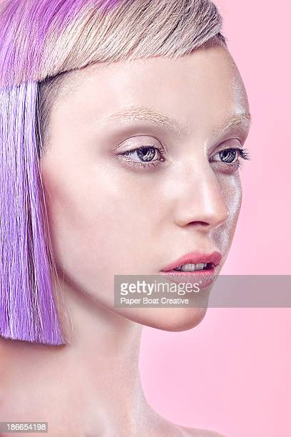 portrait of lady with fashionable purple hair cut - fashion model stock pictures, royalty-free photos & images
