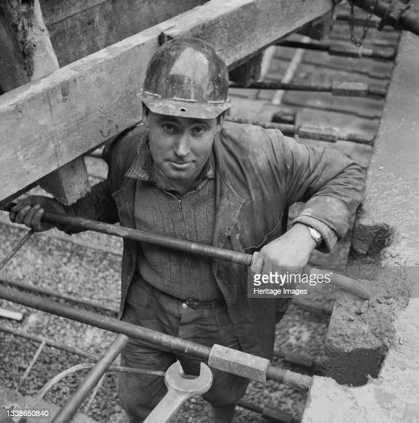 Portrait of Laing welder George Anderson working on the Portishead Dock project. A cropped version of this image was published in the 'People'...