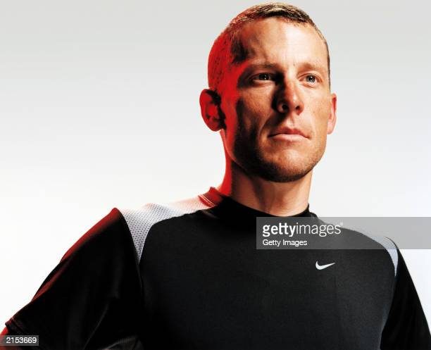 Portrait of Lance Armstrong of the USA and the United States Postal team during a Nike Swift Spin Time Trial Suit feature held in July 2003 prior to...