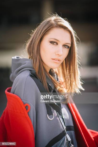 Portrait of Landiana Cerciu during London Fashion Week February 2018 on February 18 2018 in London England