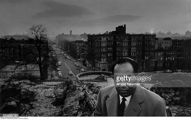 Portrait of Langston Hughes, American author and poet, in Harlem January 29, 1960 in New York City.