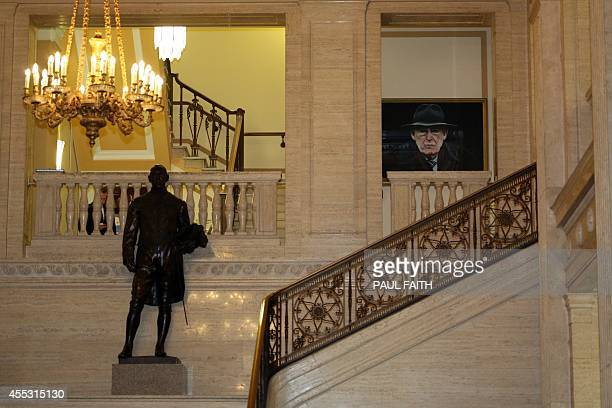 A portrait of late Former First Minister Ian Paisley is displayed in the great hall of the Stormont Parliament buildings in Belfast on September 12...