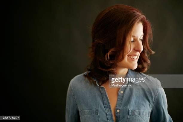 Portrait of laughing Caucasian woman
