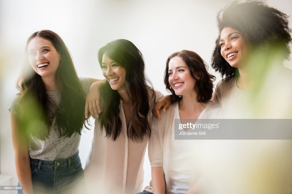 Portrait of laughing women : Stock Photo