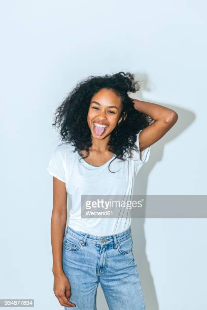 Tongue woman out sticking Beckwith