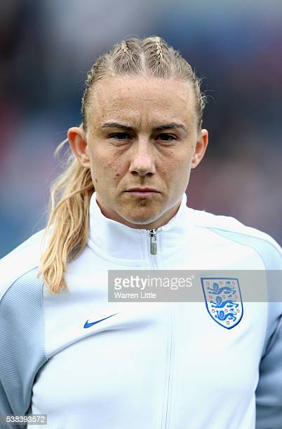 A portrait of Laura Bassett of England ahead of the UEFA Women's European Championship Qualifying match between England and Serbia at Adams Park on...
