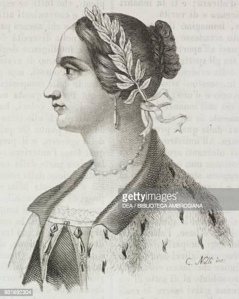 Portrait of Laura Bassi Veratti Italian physicist engraving from L'album giornale letterario e di belle arti May 28 Year 9
