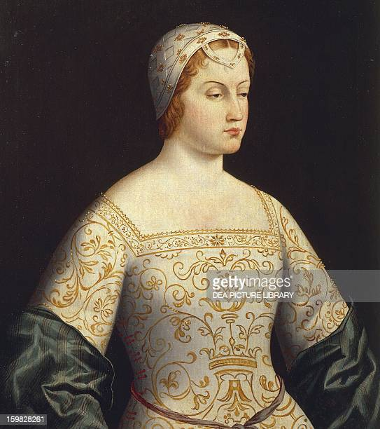 Portrait of Laura beloved by Francesco Petrarca Painting by the 16th century Italian school Innsbruck Schloss Ambras Kunsthistorisches Museum...