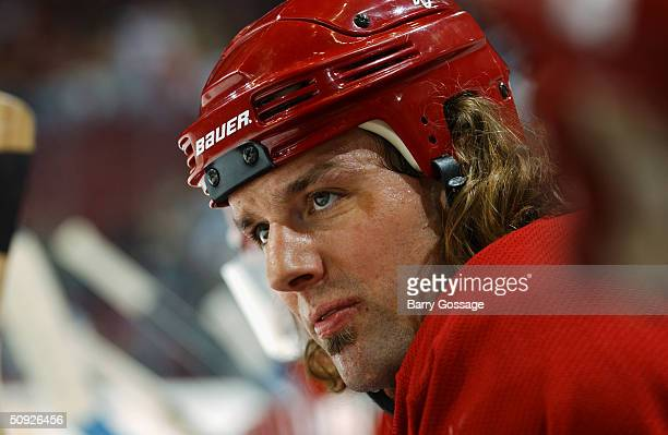 Portrait of left wing Tyson Nash of the Phoenix Coyotes during the game against the Nashville Predators at Glendale Arena on February 21, 2004 in...