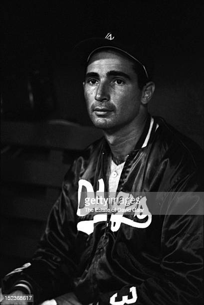 Portrait of legendary Brooklyn/Los Angeles Dodgers lefthanded pitcher Sandy Koufax on July 12 1963 at the Polo Grounds Stadium in New York City New...