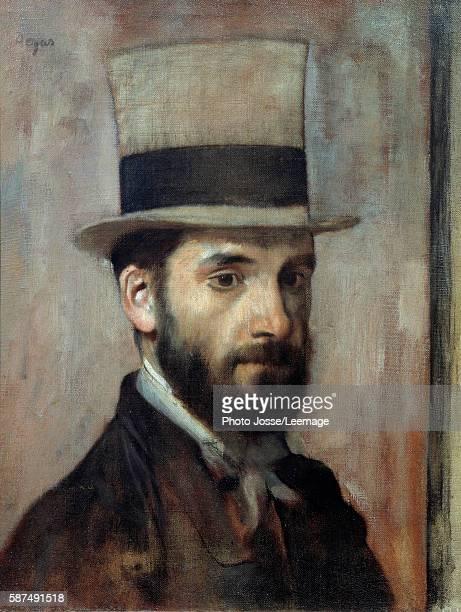 Portrait of Leon Joseph Florentin Bonnat The artist wears a top hat Painting by Edgar Degas 1863 043 x 036 m Bonnat Museum Bayonne France