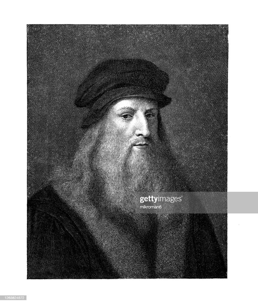Portrait of Leonardo da Vinci, Italian artist and polymath, 1452 - 1519 : Stock Photo